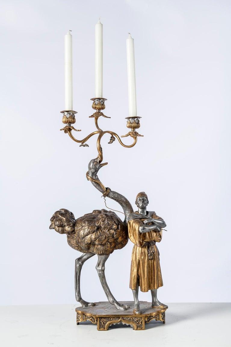 Polychrome Alloy Bronze Garniture, Orientalist Style, 1860 For Sale 1