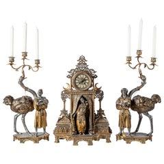 Polychrome Alloy Bronze Garniture, Orientalist Style, 1860