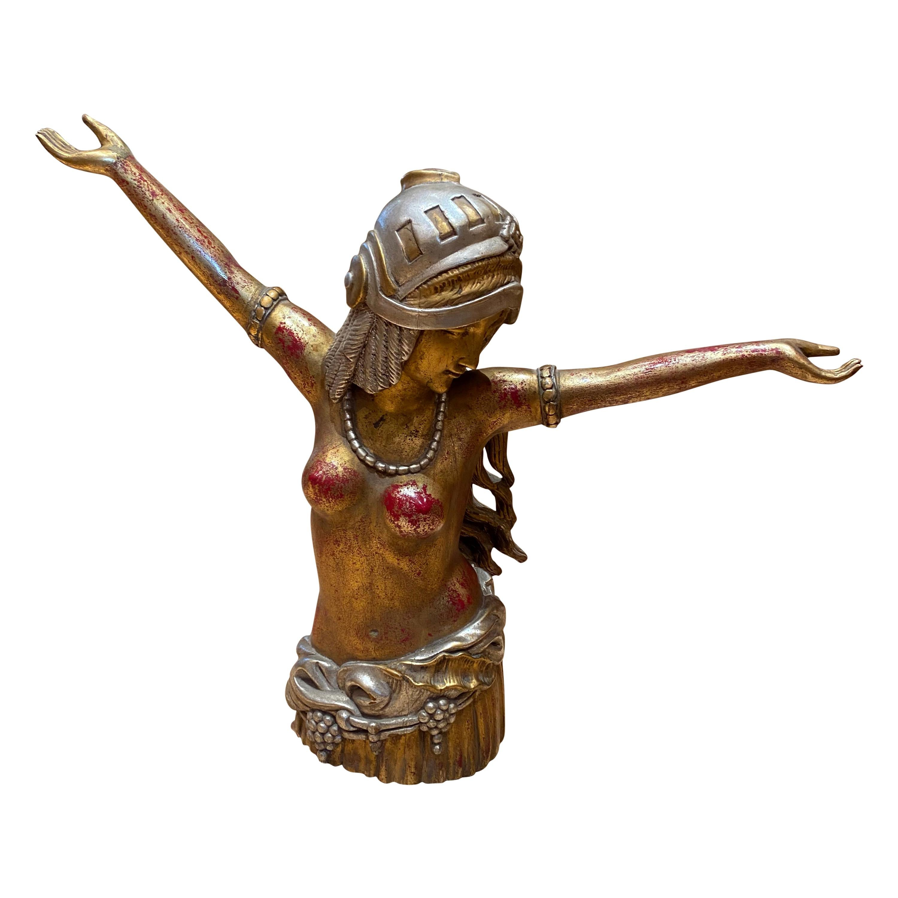 Polychrome Carved Wooden Figure of an Art Deco Style Lady Dancing, 20th Century