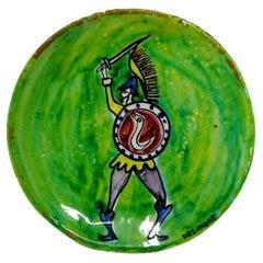 Polychrome Ceramic Dish Design Giovanni De Simone Palermo, 1960s