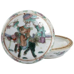 Polychrome Chinese Porcelain Box with Lid, China, Early 20th Century