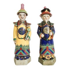 Polychrome Chinoiserie Emperor Statues, Pair