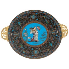 Polychrome Cloisonné Enameled Dish with Character Decor and Entrelcss Fleuris