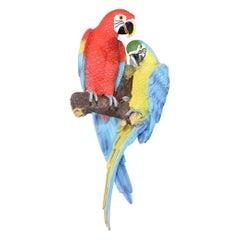 Polychrome Composition Parrot Wall Sculpture