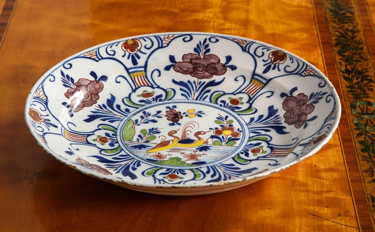 Polychrome Delft Deep Dish For Sale 1
