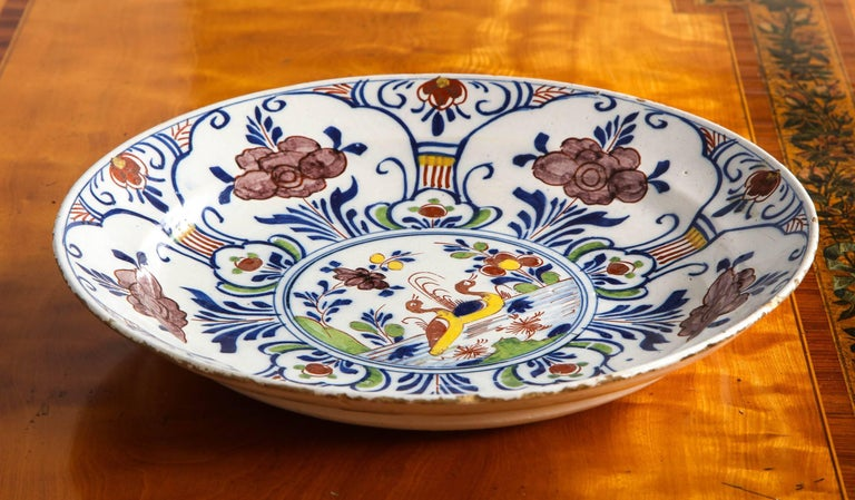 Polychrome Delft Deep Dish For Sale 3