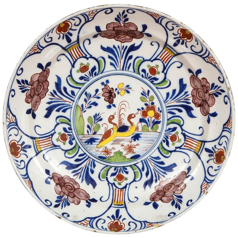 Polychrome Delft Deep Dish For Sale