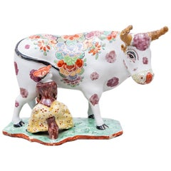 Polychrome Delfts Cow, 18th Century