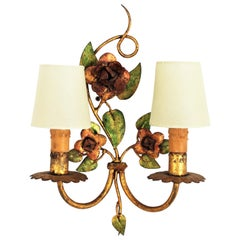 Polychrome Gilt Iron Two-Light Flower Wall Sconce, France, 1940s