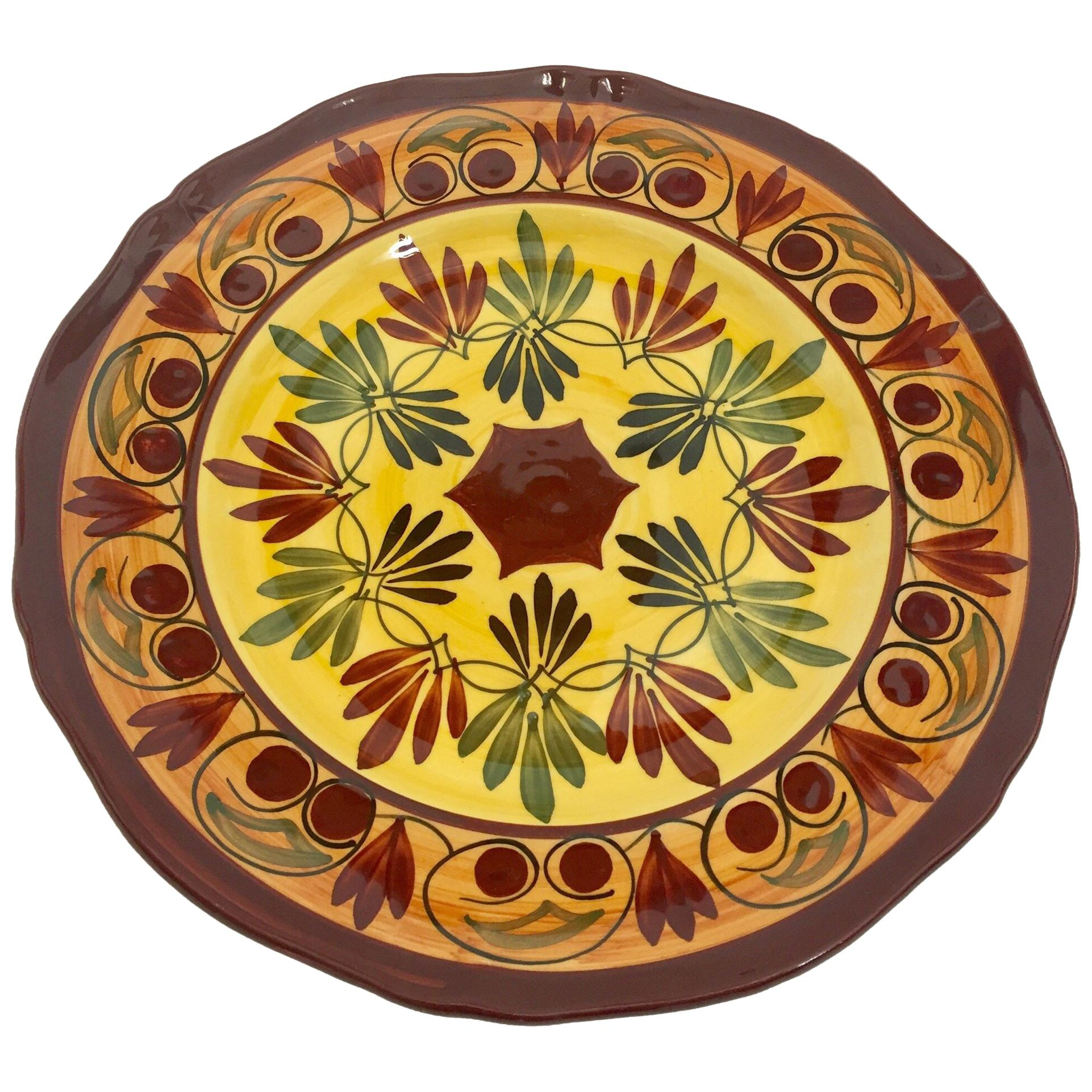 Polychrome Hand Painted French Ceramic Decorative Plate