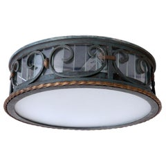 Polychrome Iron French Ceiling Light with Original Patina