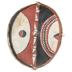 Polychrome Leather African Massai Tribe Shield