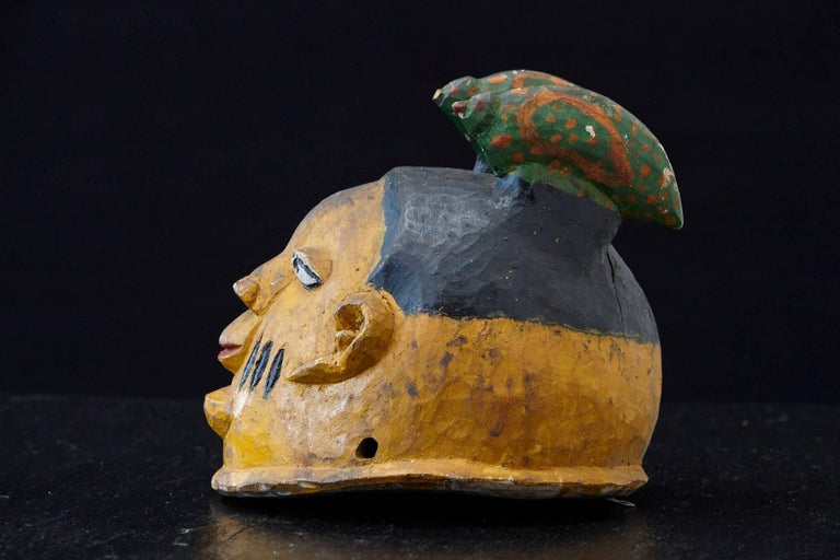 Polychrome Wood Gelede Headdress, Yoruba People, Nigeria, circa 1940s In Good Condition For Sale In Weston, CT