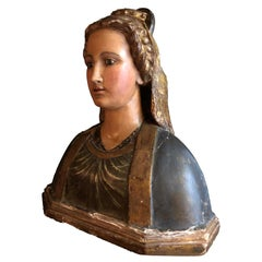 Polychrome Wooden Bust of a Roman Patrician