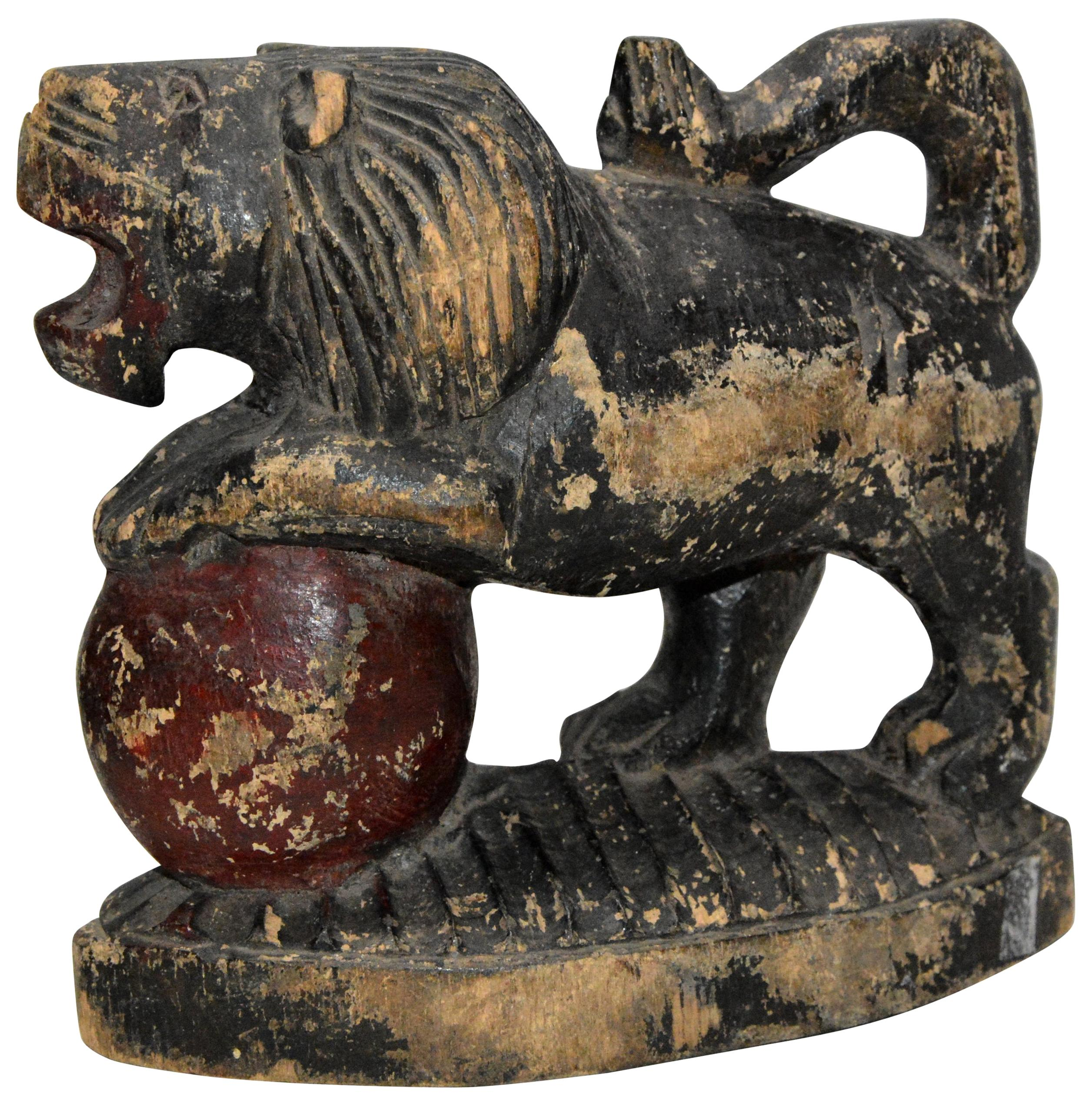 Polychrome Wooden Lion on Red Ball Carving, 19th Century