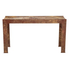 Polychromed and Marble Console Table Attributed to Marc du Plantier