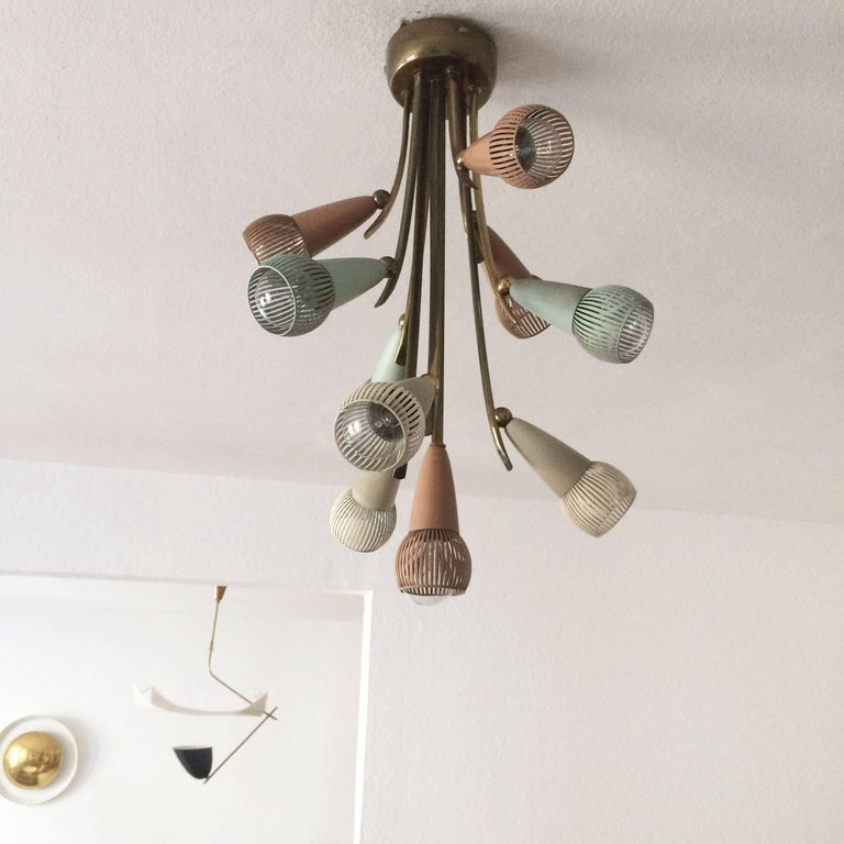 Lacquered Polychromed Sputnik Chandelier with Ten Arms, 1950s For Sale
