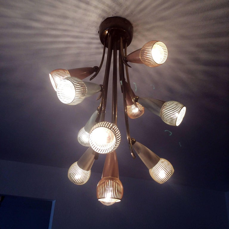 Polychromed Sputnik Chandelier with Ten Arms, 1950s In Good Condition For Sale In Munich, DE