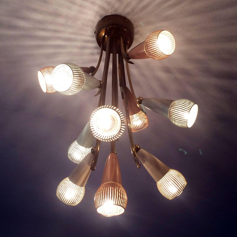 Mid-20th Century Polychromed Sputnik Chandelier with Ten Arms, 1950s For Sale