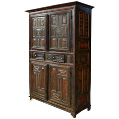Polychromed Wood and Iron Cupboard. Spain, 1773. Dated