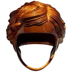 "Polyester Resin Helmet Sculpture ""Balkis"" by Fabián Bercic, Argentina, 2020"