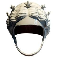 "Polyester Resin Helmet Sculpture ""Nicée"" by Fabián Bercic, Argentina, 2021"