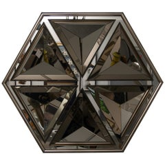Polygon Form Wall Mirror with Bronze Coloration