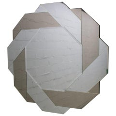 Polygon Wall Mirror with Braided Mirrored Smoked and Clear Glass, 1970s