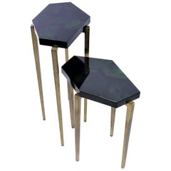 Polygonal Nesting Tables in Green Marquetry and Old Brass Patina by Ginger Brown