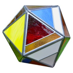 Polyhedral Belgian Colored Glass Lamp Made by Local Bruges Artist
