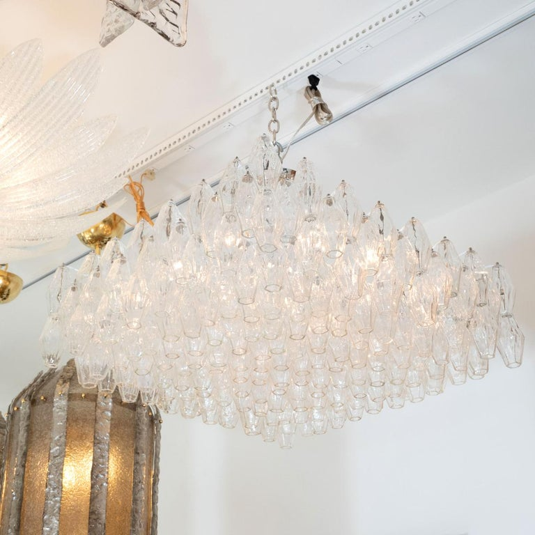 Chandelier composed of multiple polyhedron Murano glass elements by Venini.