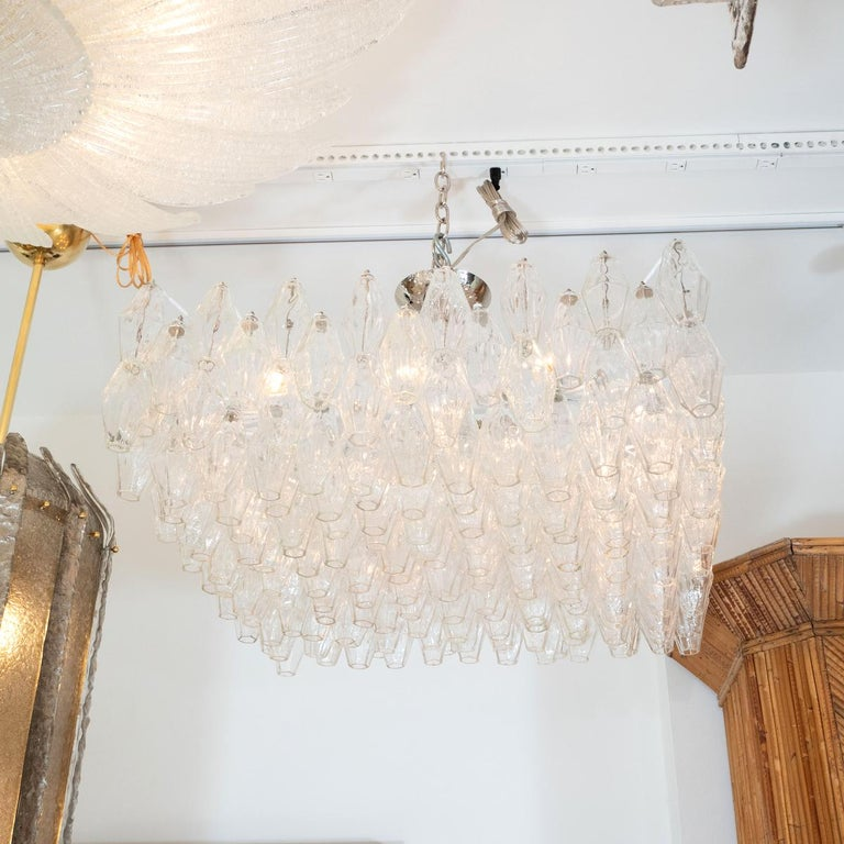 Mid-Century Modern Polyhedral Glass Prism Chandelier For Sale