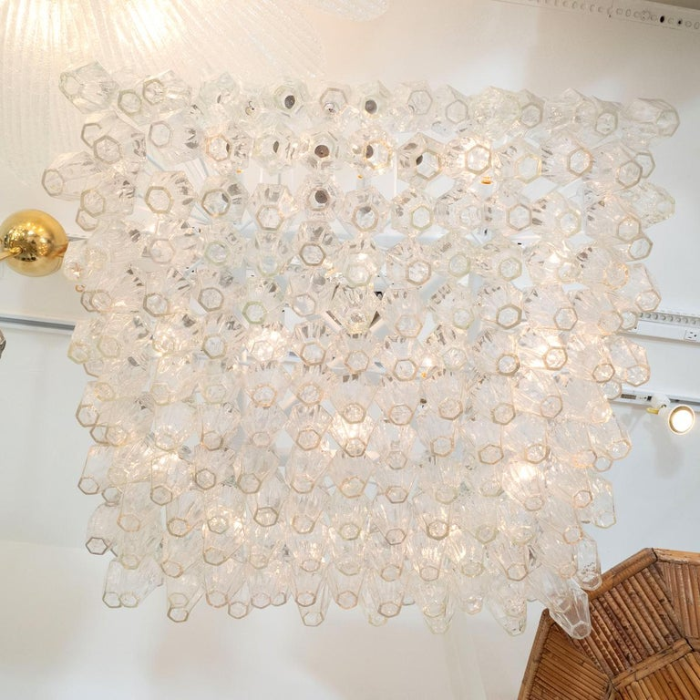 Italian Polyhedral Glass Prism Chandelier For Sale