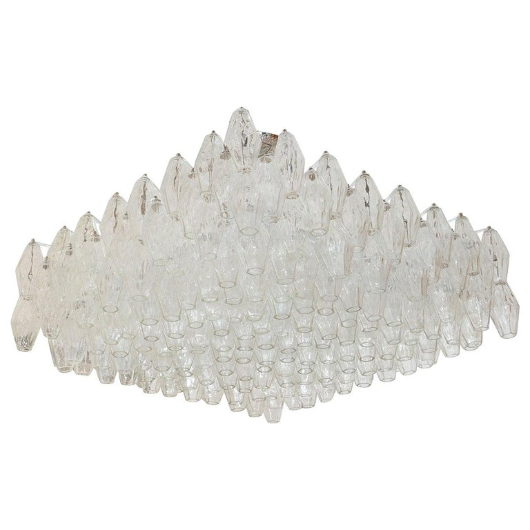 Polyhedral Glass Prism Chandelier For Sale