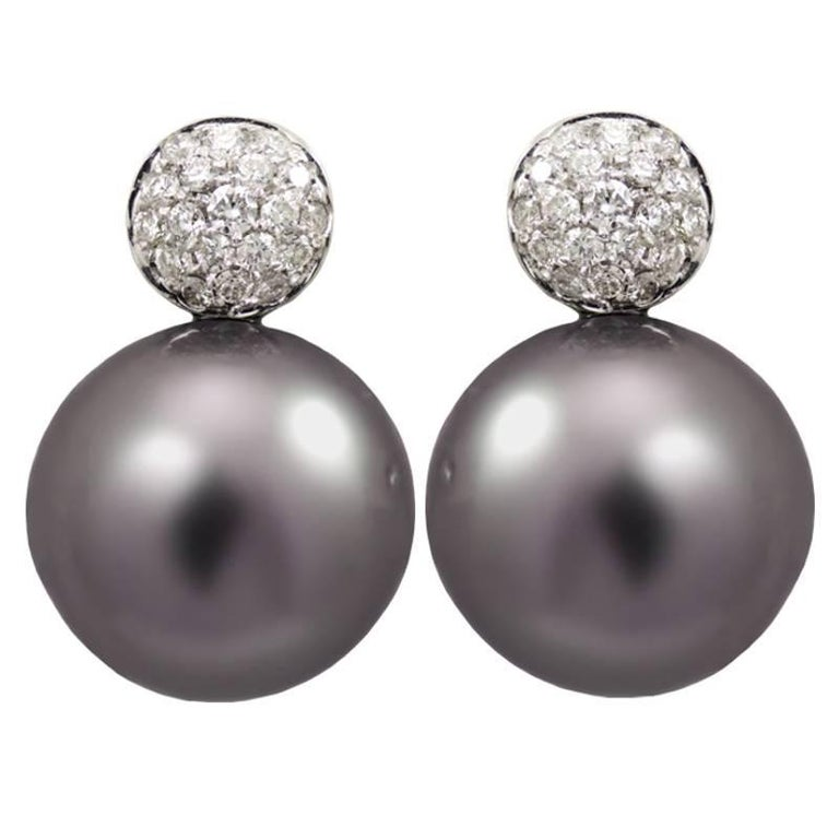 Polynesian Grey Pearl Stud Earrings With Pave White Diamonds For