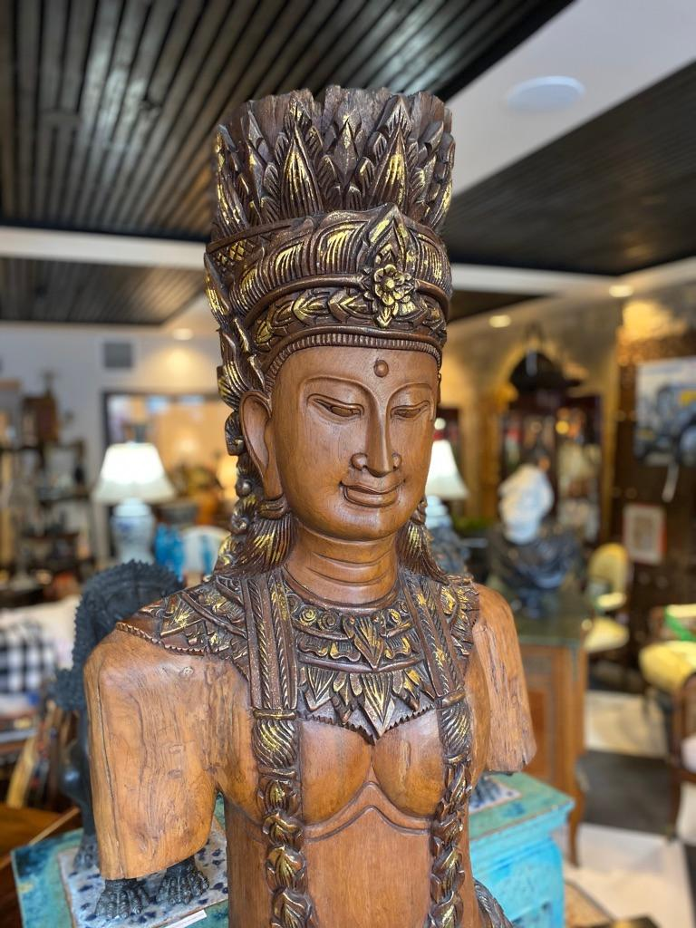 Hand-Carved Southeast Asian Standing Chief Statue For Sale