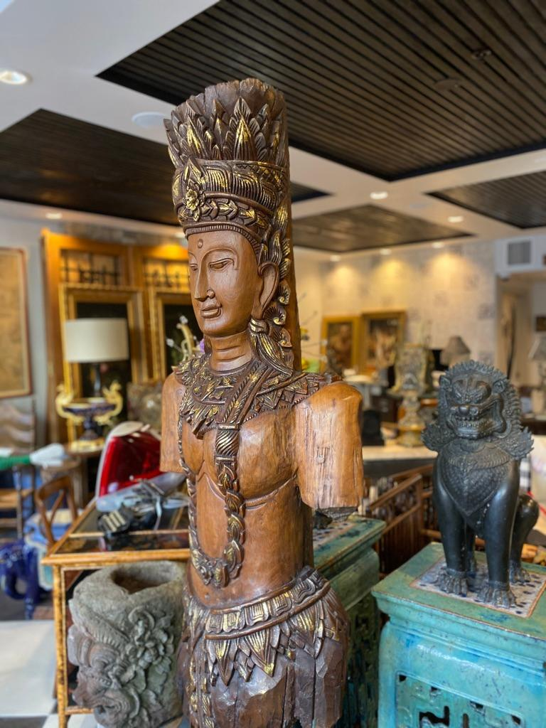 Giltwood Southeast Asian Standing Chief Statue For Sale
