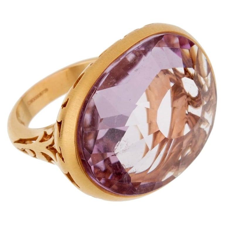 Pomellato 10 Carat Amethyst Cocktail Rose Gold Ring For Sale