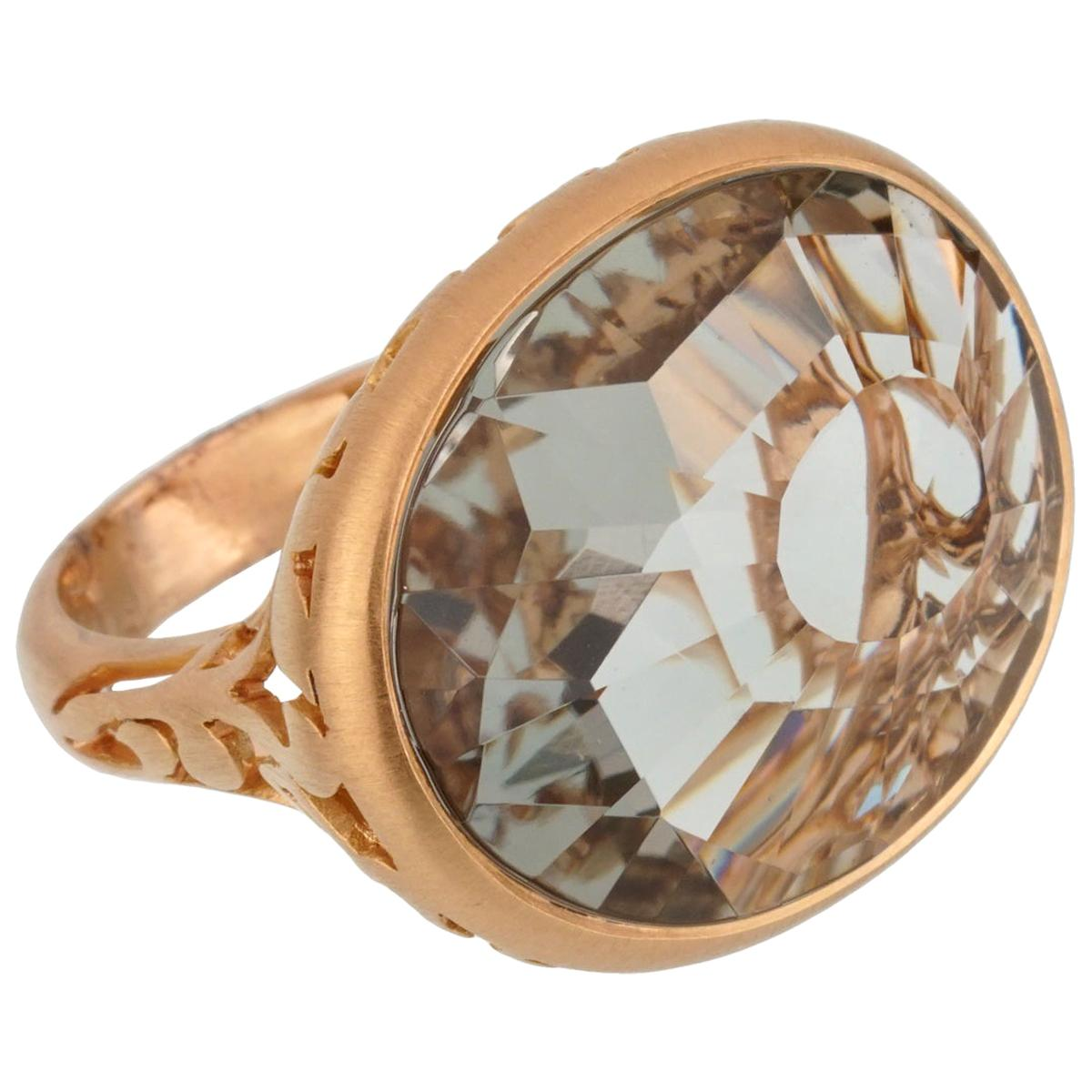 Pomellato 10 Carat Prasiolite Cocktail Rose Gold Ring