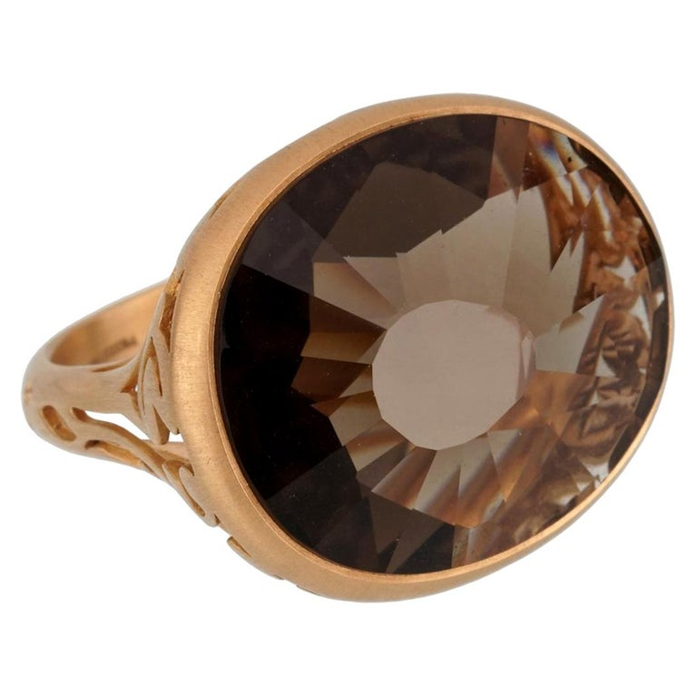 Pomellato 10 Carat Smoky Quartz Cocktail Rose Gold Ring For Sale