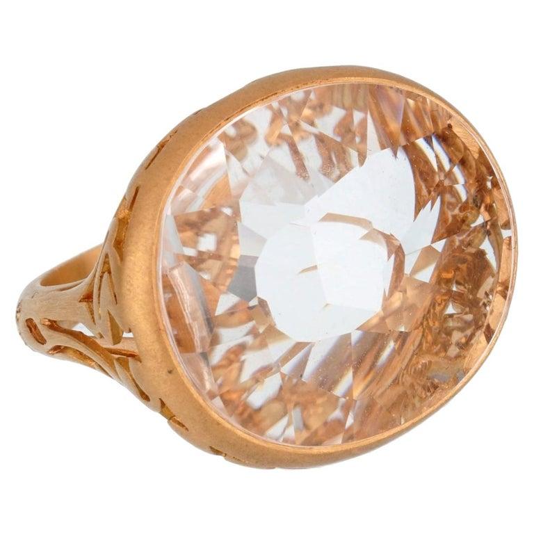 Pomellato 10 Carat White Quartz Cocktail Rose Gold Ring For Sale