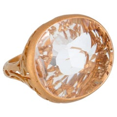 Pomellato 10 Carat White Quartz Cocktail Rose Gold Ring