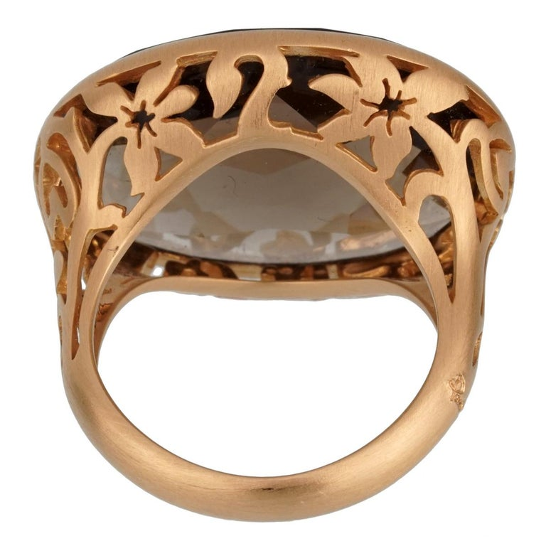 Briolette Cut Pomellato 10 Carat Smoky Quartz Cocktail Rose Gold Ring For Sale