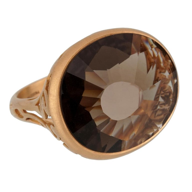 Pomellato 10 Carat Smoky Quartz Cocktail Rose Gold Ring In New Condition For Sale In Feasterville, PA