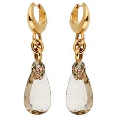 Pomellato 12 Carat Green Quartz Diamond Drop Earrings