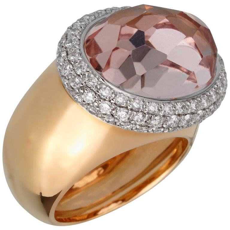 Pomellato 12.5 Carat Morganite Diamond Rose Cocktail Ring For Sale