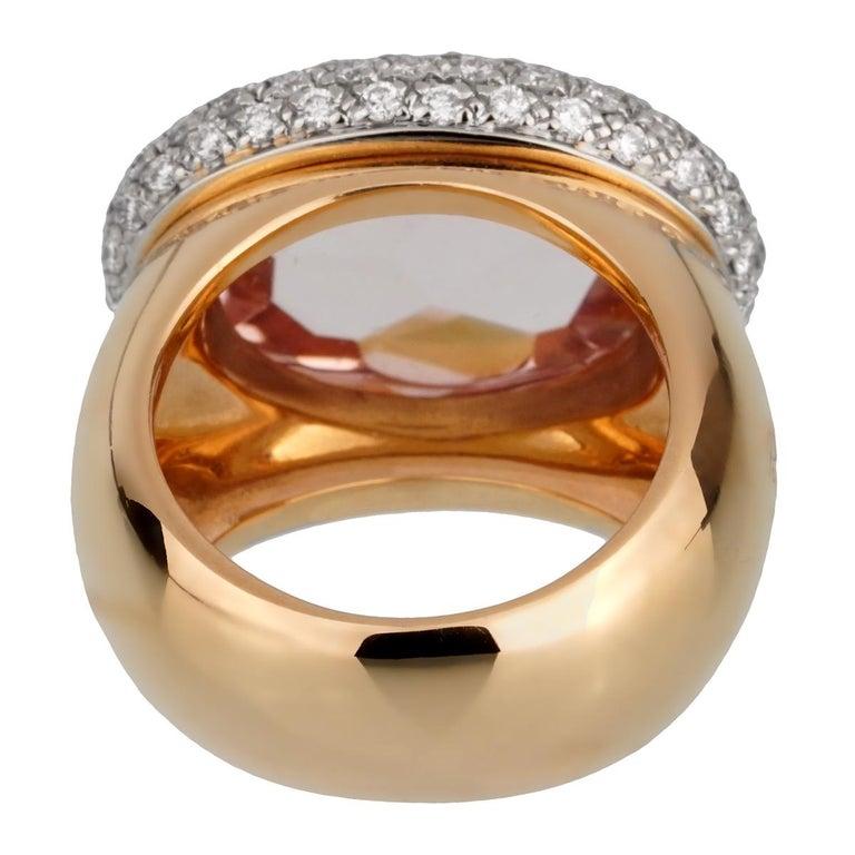Rose Cut Pomellato 12.5 Carat Morganite Diamond Rose Cocktail Ring For Sale