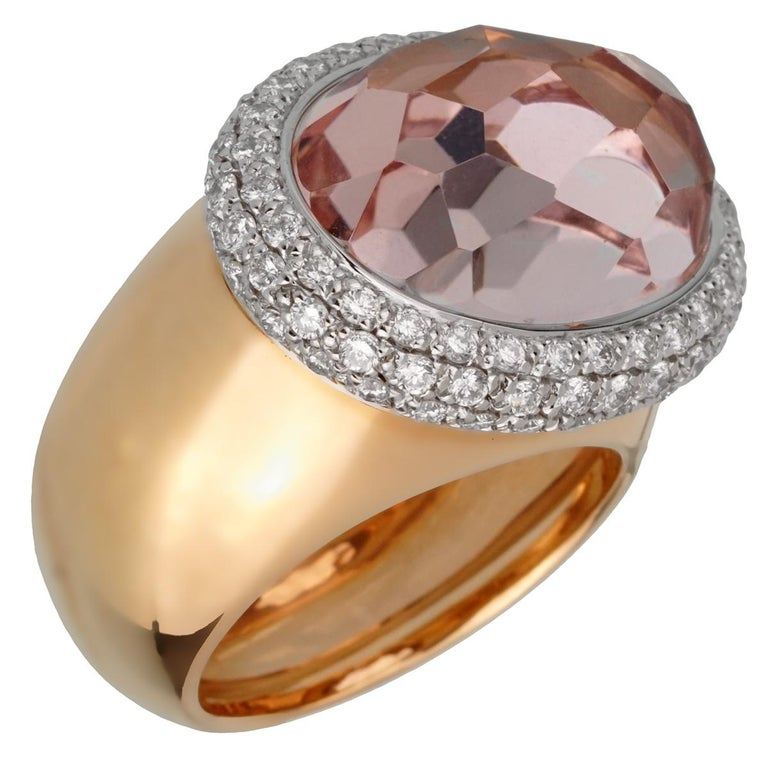 Pomellato 12.5 Carat Morganite Diamond Rose Cocktail Ring In New Condition For Sale In Feasterville, PA