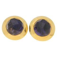 Pomellato Purple Iolite Earrings in 18k Yellow Gold