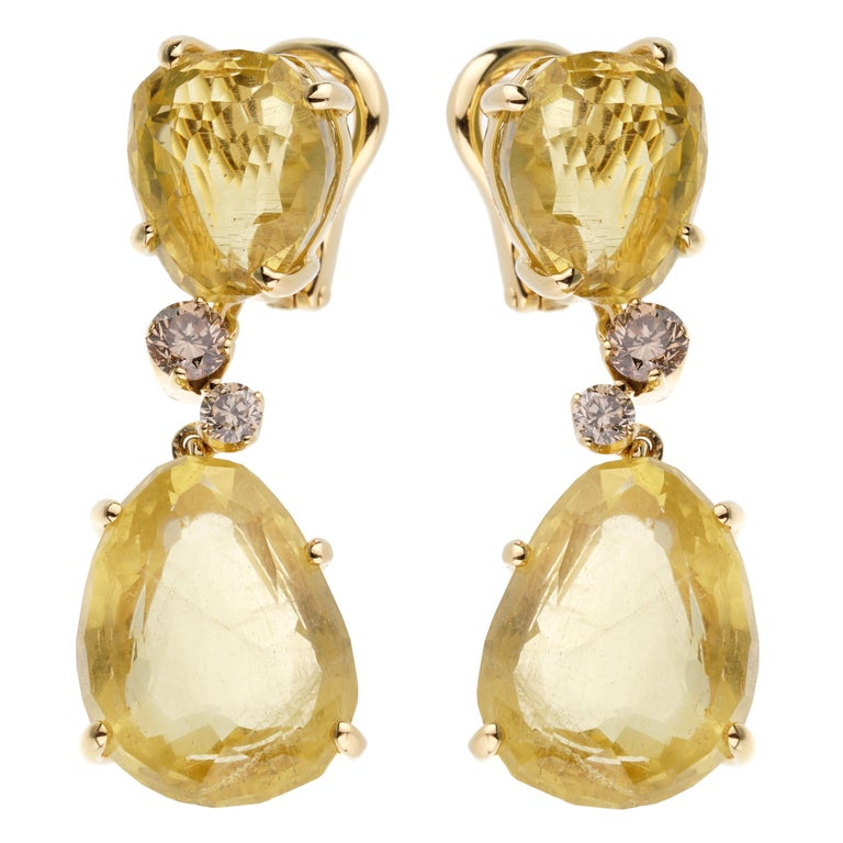 Pomellato 12ct Lemon Quartz Champagne Diamond Drop Earrings In New Condition For Sale In Feasterville, PA